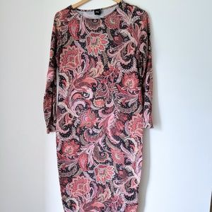 Red Paisley Long Sleeve Bodycon Dress